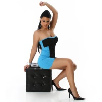 SEXY BANDEAU DRESS MINIDRESS BLUE/BLACK