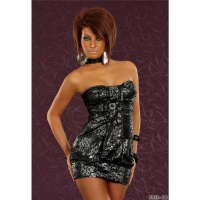 SEXY BANDEAU MINIDRESS GLITTER BLACK/GREY UK 10/12 (M/L)
