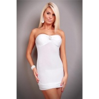 SEXY BANDEAU MINIDRESS WITH BROOCH WHITE