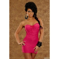 SEXY BANDEAU MINIDRESS WITH FLOUNCE STRIPES FUCHSIA