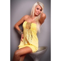 SEXY BANDEAU MINI DRESS SEQUINS YELLOW