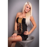 SEXY BANDEAU MINIDRESS SEQUINS BLACK/GOLD