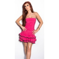 SEXY STRAPLESS LATINO DRESS DANCE DRESS SALSA FUCHSIA / BLACK Onesize (UK 8,10,12)