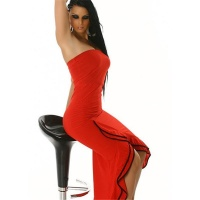 SEXY BANDEAU LATINO DRESS SALSA RED/BLACK