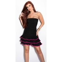 SEXY STRAPLESS LATINO DRESS DANCE DRESS SALSA BLACK/FUCHSIA