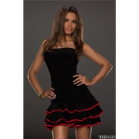 SEXY STRAPLESS LATINO-DRESS DANCE DRESS SALSA BLACK/RED