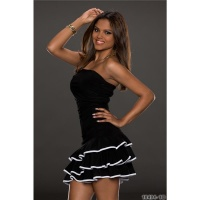 SEXY STRAPLESS LATINO-DRESS DANCE DRESS SALSA BLACK/WHITE Onesize (UK 8,10,12)
