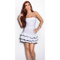 SEXY STRAPLESS LATINO DRESS DANCE DRESS SALSA WHITE / BLACK Onesize (UK 8,10,12)