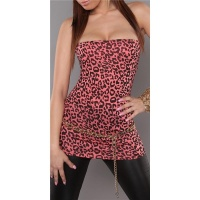 SEXY BANDEAU LONG TOP IN LEOPARD-LOOK CORAL/BLACK Onesize (UK 8,10,12)