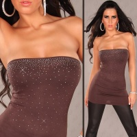 SEXY BANDEAU LONG TOP WITH RHINESTONES BROWN