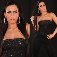 SEXY BANDEAU LONG TOP WITH RHINESTONES BLACK Onesize (UK 8,10,12)