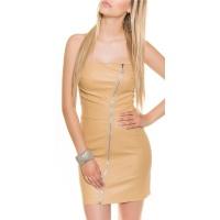 SEXY BANDEAU MINIDRESS IMITATION LEATHER WITH ZIPPER BEIGE