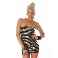 SEXY BANDEAU CLUB DRESS MINIDRESS WITH SEQUINS GOLD/BLACK