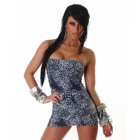 SEXY BANDEAU MINIDRESS IN LEOPARD-LOOK GOGO CLUBWEAR GREY