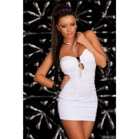 SEXY BANDEAU MINIDRESS WITH RUFFLES WHITE