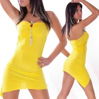 SEXY MINIDRESS WITH BUCKLE AND RHINESTONES YELLOW