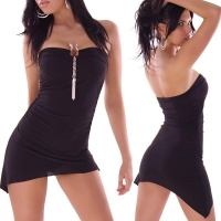 SEXY MINIDRESS WITH BUCKLE AND RHINESTONES BLACK
