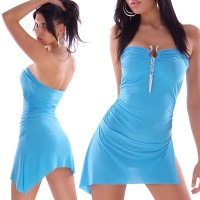 SEXY MINIDRESS WITH BUCKLE AND RHINESTONES TURQUOISE