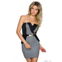 SEXY BANDEAU MINIDRESS WITH HOUNDSTOOTH PATTERN BLACK/WHITE