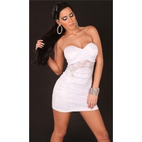 SEXY BANDEAU MINIDRESS WITH LACE WET LOOK CLUBWEAR WHITE