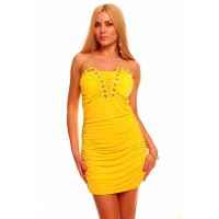 SEXY BANDEAU MINIDRESS WITH RHINESTONES YELLOW