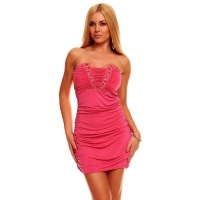 SEXY BANDEAU MINIDRESS WITH RHINESTONES FUCHSIA
