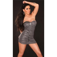 SEXY BANDEAU MINIDRESS PARTY DRESS WITH GLASS STONES GREY