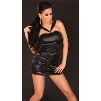 SEXY BANDEAU MINIDRESS WITH LACING WET LOOK CLUBWEAR BLACK