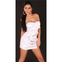 SEXY BANDEAU MINIDRESS WITH LACING WET LOOK CLUBWEAR WHITE
