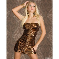 SEXY BANDEAU MINIDRESS WET LOOK METALLIC-LOOK PARTY BRONZE UK 10/12