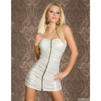 SEXY BANDEAU MINIDRESS WET LOOK METALLIC-LOOK PARTY CREAM
