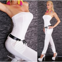 SEXY BANDEAU OVERALL JUMPSUIT CLUBBING WHITE