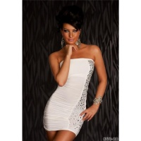 SEXY BANDEAU PARTY MINIDRESS WITH RIVETS CREAM UK 8/10 (S/M)