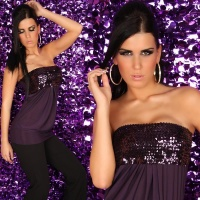 SEXY BANDEAU TOP WITH SEQUINS DARK PURPLE Onesize (UK 8,10,12)