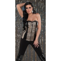 SEXY BANDEAU TOP WITH SEQUINS LEATHER LOOK PARTY BLACK/GOLD