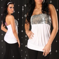 SEXY BANDEAU TOP WITH SEQUINS WHITE/SILVER