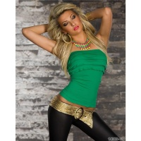 SEXY STRAPLESS BANDEAU TOP WITH FLOUNCES CLUBWEAR GREEN UK 12/14 (L/XL)