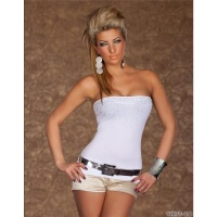 SEXY BANDEAU TOP WITH RHINESTONES WHITE