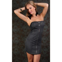 SEXY BANDEAU DRESS MINIDRESS JEANS-LOOK WITH RHINESTONES BLACK
