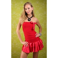 SEXY BANDEAU DRESS MINI DRESS WITH SATIN LOOP RED