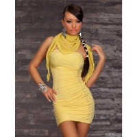 SEXY BANDEAU DRESS MINIDRESS WITH SCARF YELLOW UK 8/10 (S/M)