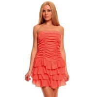 SEXY BANDEAU DRESS MINIDRESS WITH FLOUNCES ORANGE