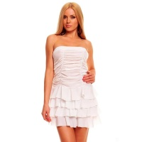 SEXY BANDEAU DRESS MINIDRESS WITH FLOUNCES WHITE