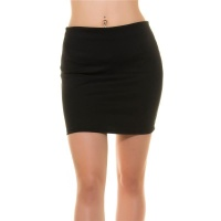 SEXY BASIC MINISKIRT MADE OF STRETCH FABRIC BLACK