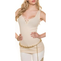 SEXY RIB-KNITTED STRAPPY TOP WITH GOLDEN BUTTONS BEIGE UK 10/12 (S/M)