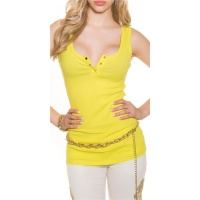 SEXY RIB-KNITTED STRAPPY TOP WITH GOLDEN BUTTONS YELLOW