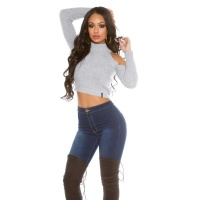 SEXY BAUCHFREIER DAMEN COLD-SHOULDER STRICKPULLOVER GRAU