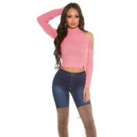 SEXY KNITTED LADIES CROP SWEATER COLD SHOULDER PINK