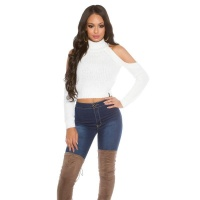 SEXY KNITTED LADIES CROP SWEATER COLD SHOULDER WHITE