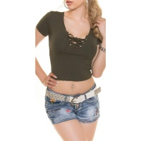 SEXY SHORT-SLEEVED BASIC CROP SHIRT WITH LACING OLIVE GREEN